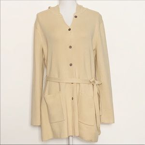 BCBGMAXAZRIA-Knit Cardigan with Hood. Size Large